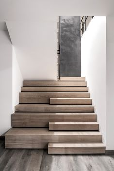 Whitewashed Walls and Brickwork Interior at House in the Sub.- Whitewashed Walls and Brickwork Interior at House in the Suburbs of Kiev Whitewashed Walls and Brickwork Interior at House in the Suburbs of Kiev – InteriorZine - Home Stairs Design, Interior Stairs, Stair Design, Stairs Architecture, Interior Architecture, Amazing Architecture, Concrete Stairs, Stair Detail, Modern Stairs