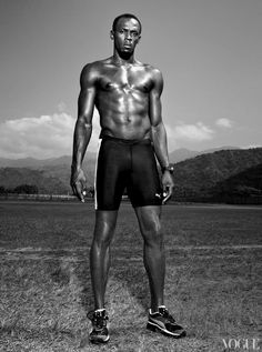 Model Joan Smalls trails the World's fastest sprinter, Usain Bolt, as a documentary crew tracks his every stride. Usain Bolt Workout, Afro, Vogue Photo, Olympic Athletes, Male Athletes, Fastest Man, Olympic Champion, Joan Smalls, Sport Icon