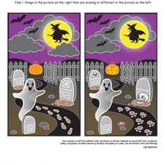 Find the Difference in the Spooky Graveyard - game for this year's Halloween Kid Party