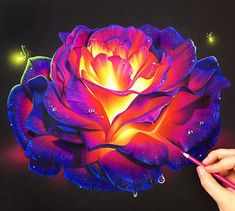Colored pencil glowing rose on black paper! ✨ The best way to get colors so bright on black paper is with prismacolor matte spray fixative. When the drawing gets built up I spray a layer on, let it dry, and go back on top with a brighter more vibrant colored pencil layer! ❤️