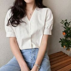 Discover fashion and beauty online with YesStyle! Shop for Women's Tops - FREE Worldwide Shipping available! Tie Neck Blouse, Short Sleeve Blouse, Ulzzang Fashion, Asian Fashion, Style Minimaliste, Minimal Fashion, Minimal Style, Korean Outfits, Aesthetic Clothes