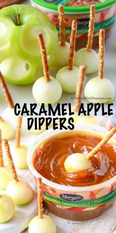 Mini Caramel Apple Dippers are the perfect fall treat for any holiday gathering! Little bits of tart apple with crisp pretzel sticks dipped in a thick rich caramel sauce. recipes appetizers caramel apples Mini Caramel Apple Dippers - Spend With Pennies Halloween Desserts, Halloween Food For Party, Fall Desserts, Delicious Desserts, Yummy Food, Dessert Healthy, Halloween Appetizers, Spooky Halloween, Health Desserts