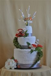 Lovely wedding towel cake!    www.towelcakecafe.com
