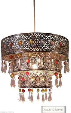 Moroccan / Turkish 3 Tier Metal Acrylic Ceiling Pendant Light Shade Chandelier in Home, Furniture & DIY, Lighting, Lampshades & Lightshades   eBay
