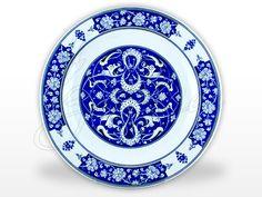 Rumi Mavi Beyaz İznik Çini Tabak İznikea