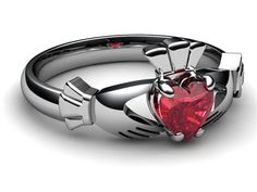 RUBY WHITE Gold Claddagh Ring - or maybe this one.an emerald one would rule. Silver Claddagh Ring, Claddagh Rings, Ring Stores, Ring Pictures, My Birthstone, Platinum Jewelry, Size 10 Rings, Ring Designs, Custom Jewelry