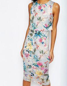 ASOS | ASOS Botanical Crop Top Midi Pencil Dress