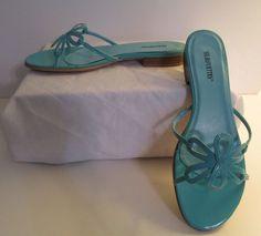 "Silhouettes Strappy Daisy slide Sandal 1/4"" heel 8.5W in Turquoise MSRP $49 #Silhouettes #StrappySlidesw14heel"