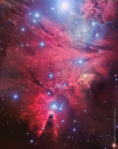 This Hubble image spans about the diameter of a full moon, and includes the Fox Fur Nebula, whose convoluted pelt lies on the lower right, bright variable star S Mon visible just above the Fox Fur, and the Cone Nebula on the image left. Given their distribution, the stars of NGC 2264 are also known as the Christmas Tree star cluster. The triangular tree shape traced by the stars appears here with its apex at the Cone Nebula on the left with its broader base near S Mon on the right. via NASA