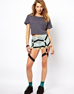 Bitching & Junkfood Denim Shorts with Suspenders