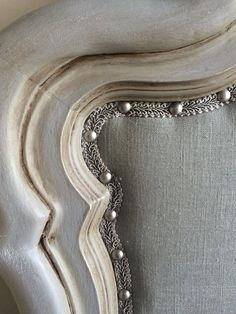 Hold For Chanel Reloved, Refurbished King Sized Vintage Chalk Painted Gray Linen Upholstered Headboard Located in Tampa Florida
