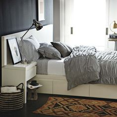 bedding inspiration: West Elm white/feather gray stripe sheet set with white fitted sheet and seersucker duvet in true gray