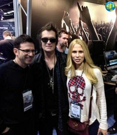 Paul Geary (formerly of Extreme) and his wife, Kerrie, during NAMM   in Anaheim, California, USA on Saturday, January 26th, 2013.