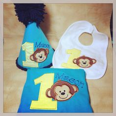 Mod Monkey Birthday Set  monkey  boys shirt  by FabTuTusandmore, $45.00