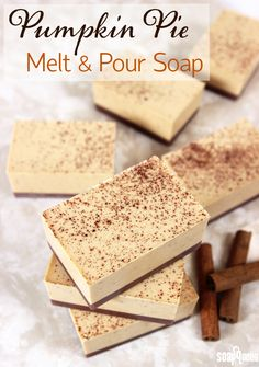 These creamy Pumpkin Pie Soaps smell just like the classic dessert. Real cinnamon and ground pumpkin seeds are added to exfoliate and smooth skin.