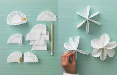 You will love this cute paper doily flowers diy and they are so easy to recreate and look great. Check out all the ideas now and the video tutorial too. Paper Doily Crafts, Doilies Crafts, Paper Doilies, Paper Flowers Diy, Flower Crafts, Diy Paper, Fabric Flowers, Paper Crafting, Crochet Christmas Ornaments