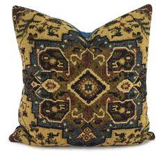 Blue Brown Tan & Cognac Woven Moroccan Desgin by ThePillowSpot