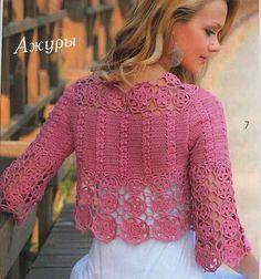 Beautiful crochet shrug/bolero with chart Crochet Bolero Pattern, Gilet Crochet, Crochet Coat, Crochet Jacket, Crochet Cardigan, Crochet Clothes, Crochet Patterns, Crochet Stitches, Crochet Sweaters