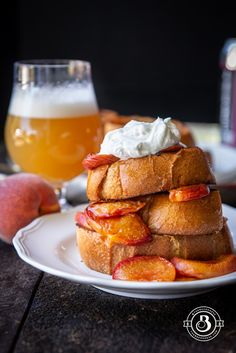 Brioche French Toast with Beer Caramelized Peaches - The Beeroness Brioche French Toast, Make French Toast, Cooking With Beer, Slice Of Bread, Breakfast Time, Food Print, Cooking Recipes, Favorite Recipes