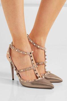 Valentino | Rockstud metallic textured-leather pumps | NET-A-PORTER.COM