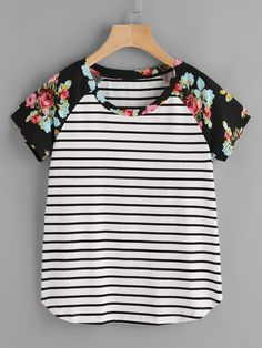 SHEIN 2017 New Womens Tees and Tops Summer Multicolor Short Sleeve T-shirt Floral Raglan Sleeve Striped Curved Hem Tee Umgestaltete Shirts, White Short Sleeve Tops, Striped Knit, Clothes For Women, Sleeves, Tee Online, Striped Blouses, Stripe Top, Floral Stripe