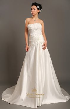 lindadress.com Offers High Quality Elegant Ivory Strapless A Line Taffeta Wedding Dress With Beaded Lace,Priced At Only USD USD $198.00 (Free Shipping)