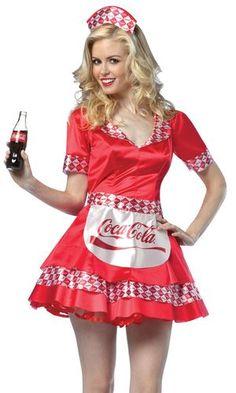 $65~ Coca Cola Soda Girl Pin Up Waitress Halloween Fancy Dress Costume   eBay