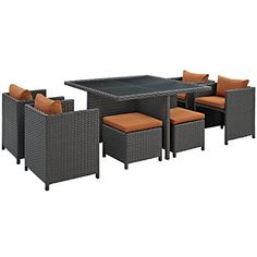 Modway-Sojourn-9-Piece-Outdoor-Patio-Rattan-Dining-Set-With-Umbrella-And-Sunbrella-Brand-Tuscan-Orange-Canvas-Cushions-0-0