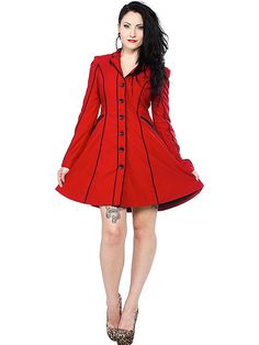 "Women's ""Fancypants"" Coat by Sourpuss Clothing (Red)"