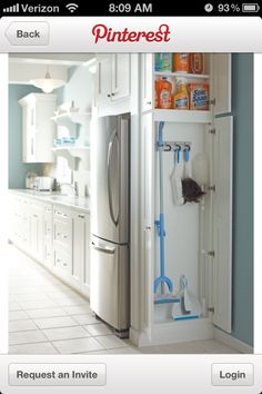 Utilities closet..... Great place to store this stuff in kitchen... Short on storage space