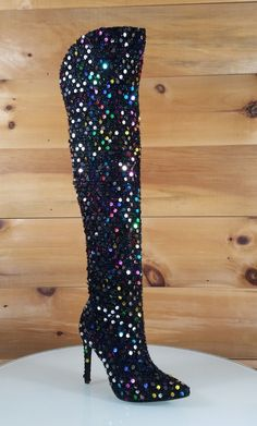 Red Cherry Carlie Black Colorful Multi Color Sequin High Heel Over the Knee Boot Thigh High Boots, High Heel Boots, Over The Knee Boots, Bootie Boots, Shoe Boots, High Heels, Shoes Sandals, Crazy Shoes, Me Too Shoes