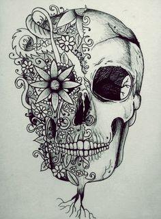 """Tradicionalmente, los tatuajes (tattoo) de calaveras mexicanas han simbolizado la muerte con una """"M"""" mayúscula, ¡pero no de una manera siniestra o negativa! Si hay un hecho innegable en este planeta, es que ningún ser humano escapa de la Parca, por rico o famoso que sea.! Trendy Tattoos, Cute Tattoos, Tattoos For Guys, Tattoos Skull, Body Tattoos, Tatoos, Calaveras Mexicanas Tattoo, Pencil Drawings, Art Drawings"""