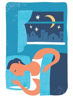 """""""The risks associated with insufficient sleep go beyond mild crankiness and dark circles under the eyes""""   Baltimore magazine Illustration by Lucy Davey"""
