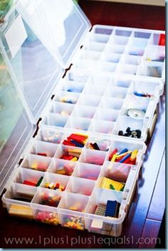 Storing Legos AND using them on (tot) trays! @Carisa {1plus1plus1} is a genius!