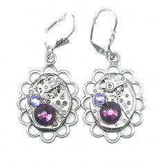 HUGE SALE  Steampunk Earrings Best Friend Gifts, Gifts For Friends, Ruby Jewel, Steampunk Earrings, Huge Sale, Antique Silver, Gifts For Women, Garnet, Amethyst