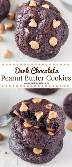 These fudgy dark chocolate peanut butter cookies are soft, chewy & filled with peanut butter chips. So decadent & perfect for chocolate lovers (Dark Chocolate Cookies) Köstliche Desserts, Delicious Desserts, Dessert Recipes, Holiday Desserts, Healthy Desserts, Yummy Treats, Chocolate Peanuts, Chocolate Flavors, Dark Chocolate Cookies