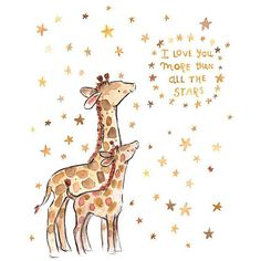 This print says it all. - art print from an original watercolor, gouache, and acrylic painting by Kit Chase. - archival matte paper and ink - vertical print - ships worldwide from the U. Baby Animals, Cute Animals, Giraffe Art, Giraffe Quotes, Giraffe Drawing, Giraffe Painting, Baby Boy Quotes, Love You, My Love