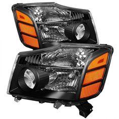 Spyder Auto HD-JH-NTI04-AM-BK | 2005 Nissan Titan Black Amber OEM Headlights for SUV/Truck/Crossover
