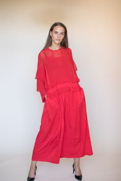 Agnes long maxidress - Red flowy dress by Line of Oslo Red Flowy Dress, Oslo, Dresses With Sleeves, Long Sleeve, Fashion, Moda, Full Sleeves, La Mode, Gowns With Sleeves