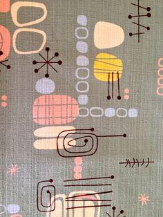 SALE // Spacely Sprocket Retro Atomic Barkcloth Fabric by Robert Kaufman //CottonYardage //Abstract Eames Era //New Stock on Etsy, $41.00