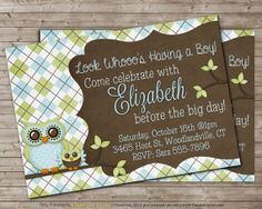 Printable OWL Baby Shower Invitation for BOY  CUSTOM by DandeAve, $10.00