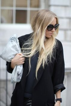 Snowy Blonde: Want to go platinum, but afraid to take the plunge? Use balayage to paint it at varying heights on your strands. You get all the wow of such a bright blonde, but you keep the warmer, subtler tones near your face. (via Add Hairstyle)