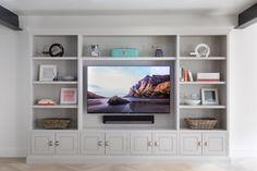 Built In Shelves Living Room, Living Room Wall Units, Living Room Tv Unit Designs, Ikea Living Room, Living Room Cabinets, Living Rooms, Built In Tv Wall Unit, Tv Built In, Tv Wall Cabinets