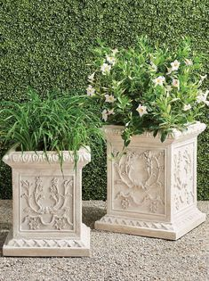 Inspired by the romantic grandeur of historical Provencal gardens, our eye-catching, all-weather planters feature gorgeously detailed designs including botanical motifs, ribbon laurels and artfully molded rims. The sturdy pulverized stone and polyresin construction ensures it will be a staple for showcasing flowers, grasses and topiaries for years to come. Resin Planters, Trough Planters, Outdoor Planters, Outdoor Decor, Garden Urns, Garden Planters, Garden Oasis, Lawn And Garden, Red Poppies