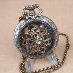 Vintage Elegant Repousse Type Steampunk Pocket Watch Pendant