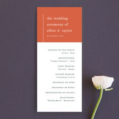 """""""Evermore"""" - Customizable Unique Wedding Programs in Orange by carly reed walker. Modern Wedding Program, Wedding Stationery, Wedding Invitations, Wedding Favor Tags, Reception Card, Wedding Website, Invitation Design, Unique Weddings, Wedding Ceremony"""