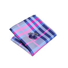 Dark Gray & Pink & Blue Plaid Classic Silk Necktie Tie Hanky and Cufflinks Set For Men