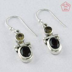 SIIPL - NATURAL Citrine & Smoky Quartz Stone 925 Sterling Silver Earring 3958 #SilvexImagesIndiaPvtLtd #DropDangle