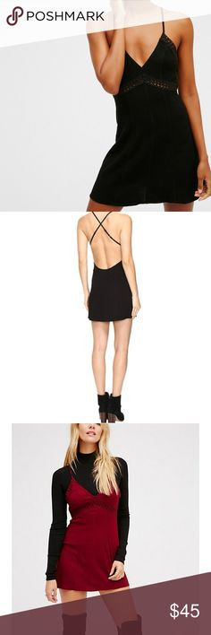 Free people Sweet Talker in Black Simple semi-sheer slip featuring criss-cross adjustable straps, a scooped open back design and a V-neckline. Cute crochet details throughout. Bust: 19 in Waist: 27 in Length: 26.5 in Third picture is only to show other ways of styling and wearing it  Check out other Free People items in my closet! Free People Intimates & Sleepwear Chemises & Slips