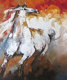 Pakistani Art Paintings - Horse Paintings, Abstract, Modern by fine artist Sajida Hussain Horse Oil Painting, Oil Painting Abstract, Artist Painting, Painting Prints, Horse Paintings, Art Prints, Abstract Print, Horse Artwork, Modern Artwork